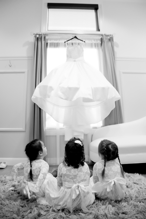 Flower Girls looking up at wedding dress